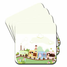 People on Steam Train Reading Books with Rabbits Set of 4 Coasters