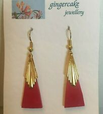 RED RAYS ART DECO STYLE SLENDER TRIANGLE GOLD PLATED DROP EARRINGS Hook