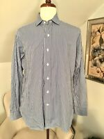 Polo Ralph Lauren Estate Shirt Button Up Dress Custom Fit Blue Stripe 16 1/2 L