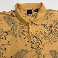 George Polo Shirt Men's 2XL XXL Short Sleeve Orange Blue Floral Casual Silk Wash