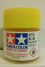 Tamiya acrylic paint X-8 Lemon Yellow 23ml.