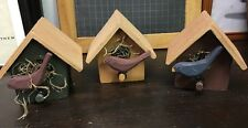 Primitive Wooden Set Of Three Birdhouses By Crazy Mountain