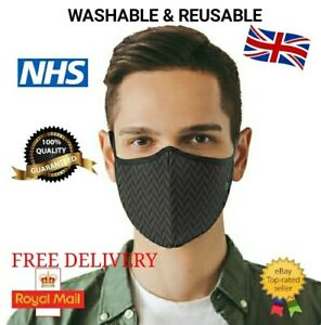 Triple Layer MENS & WOMENS Face Mask Cotton Fully Breathable Quality Masks UK