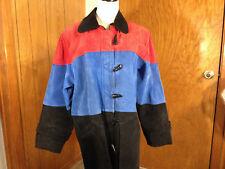 SONG Genuine Suede Leather Womens Coat Jacket Red Blue Black Excellent Size L