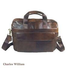 GENUINE LEATHER Brown Soft Laptop MESSENGER BAG & Straps Business Men Gift Xmas