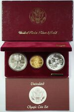 1983-1984 Olympic 3 Coin Commemorative UNC Set w/ $10 Gold & 2 Silver Dollars