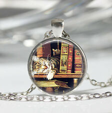 1 pcs Library Book cat Glass Cabochon Tibet silver pendant chain necklace