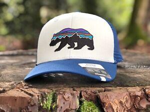 "Patagonia Trucker Hat ""Fitz Roy Bear""  White W/ Blue"