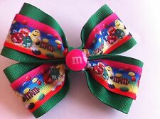 "Girls Hair Bow 4"" Wide M&M's Ribbon Green Grosgrain Flatback French Barrette"