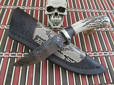 Herb Derr Gorgeous Custom Hand Made Stag Damascus Hunter Snake Leather Sheath