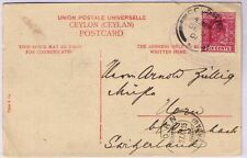 Ceylon 1905 KEVII 6c used on p/p/card with ship Colombo cachet