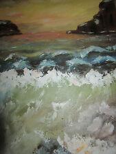 Vintage golden sunset seascape coast beach ocean hand painted original PAINTING