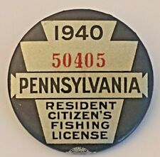 Vintage 1940 Pa Pennsylvania Resident Fishing License Button Pin With Paper