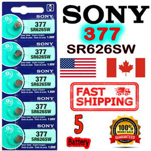 5X SONY 377, SR626SW, Silver Oxide Button Cell Battery 1.55V SR66 AG4 Exp. 2028