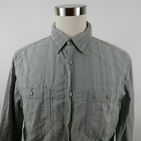 Aigle Mens Cotton LS Button Down Gray Striped Casual Shirt With Pockets Large