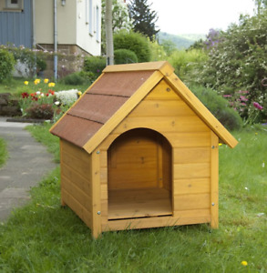 Outdoor Wooden Dog Pet House Kennel Doghouse Wide Overhang Size S