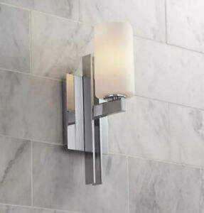 """Modern Wall Light Sconce Chrome 14"""" Fixture Frosted Hallway, #V0916"""