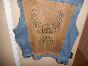 Vintage Harley Davidson Biker Blues Distressed Denim/Leather Vest M/L USA