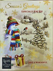 BOX OF 12 LUXURY CHRISTMAS CARDS 'SEASONAL GREETINGS ESPECIALLY FOR YOU' SNOWMAN
