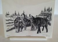 """1992 Montana Marble 8 1/4"""" x 10 3/4  Etched """"Leader of the Pack"""" Wolves  B Brown"""