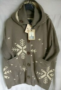 MAISON SCOTCH GREY LOOSE FIT SNOWFLAKE HOODED CASUAL NOVELTY CARDIGAN SIZE 2 NEW