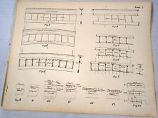 Maritime Engineering drawing Antique Print Ships Deck Construction
