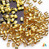 200 x TUBE CRIMP GOLD SILVER PLATED 2mm STOPPER BEADS FINDINGS