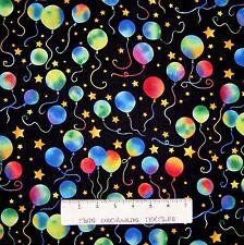 Kids Fabric - Party On Rainbow Balloons on Black - Hoffman YARD