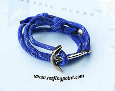 Nautical Rope bracelet - Reefing Point - Silver Anchor : Blue