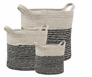 Black and White Rustic Braided Storage Basket Set of 3