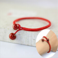 Women Red Lucky Beads Braided String Adjustable Rope Ceramic Charms Bracelet