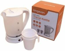 0.5 LITRE DUAL VOLTAGE SMALL ELECTRIC TRAVEL KETTLE + 2 CUPS IN WHITE COLOUR NEW