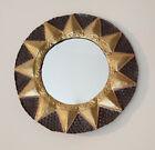 """Vintage 14 3/4"""" Round Recycled Steel Drum Sun Design Mirror Made In Haiti"""