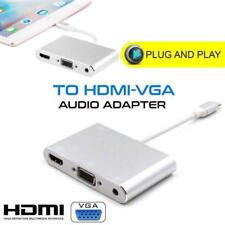 AV Cable Adapter to HDMI VGA Audio Video HDTV For iPhone 8 7 6 iPad Pro Mini Air