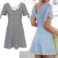 Rückendekollette Kleid SCHWARZ-WEIß Gr.40 Sommerkleid Shirtkleid Maritim Stretch