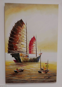 Asian-inspired Au Lac Wall Art - Hand-painted Oil on Canvas