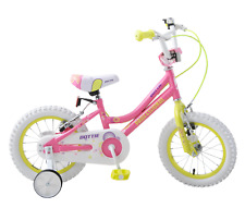 "Professional Dottie 14"" Wheel Kids Girls Childs Bike Pink/Green Stabilisers 4+"