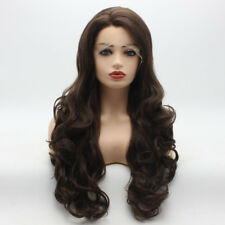 Wavy Long 26inch Two Tone Brown Mix Heavy Density Synthetic Lace Front Wig