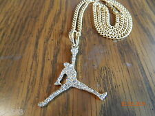 MIP- Air Jordan Jumpman Gold Tone pendant w/ a matching 24inch 4mm cuban chain