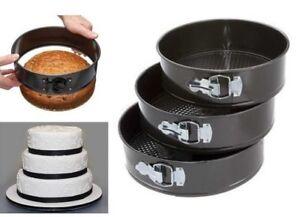 SET OF 3 NON STICK SPRING FORM ROUND CAKE BAKING BAKE TIN TRAY PAN BAKEWARE