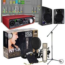 Rode NT1-A Bundle w/ Focusrite 2i2 Recording Interface M-Audio Monitors Stand