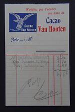 Facture CACAO VAN HOUTEN 1910 old bill Rechnung fattura