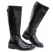 Mens winter Side Zip Riding Military Combat High Top moto Buckle Knee High Boots