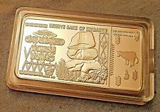 100 Trillion Dollar Zimbabwe Silver Bar Bank Note Money Africa Bullion Stones US