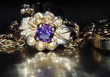 14kt  14k Yellow Gold Purple Amethyst Slide Bracelet Charm w/ Safety Clasp