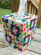 Tessalations Tissue Cover Primary Colors Red Blue Yellow yarn & plastic canvas