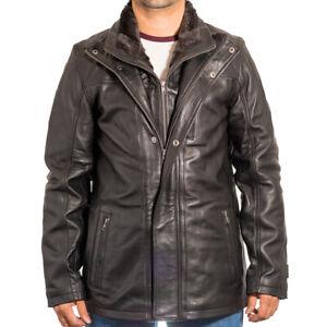Mens Leather Safari Hunter Winter Coat with Detachable Fleece in Black or Brown