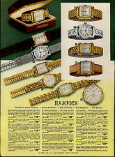 1951 PAPER AD 4 PG Hampden Wrist Watch Mid Century Modern Pyramid Case Pocket