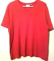 Bobbie Brooks Women Top Size XL Short Sleeve Red V-Neck
