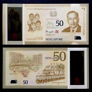 2015 SG50 SINGAPORE 50 DOLLARS POLYMER P-61a UNC> > > >W/1 STAR THARMAN COMM NR